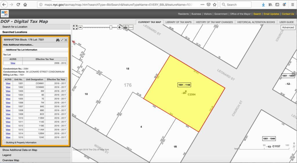 BBL also known as Borough Block and Lot or Property ID Digital Tax Map on
